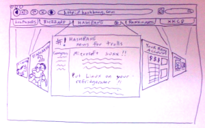Lousy pen drawing of tab behavior idea, 1 of 2