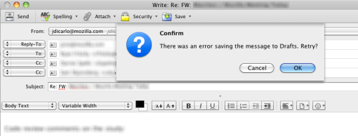 Modal dialog box asking whether to retry saving a draft