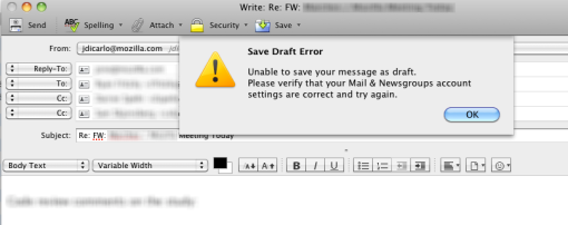 Warning message telling me that the draft could not be saved